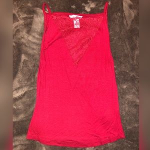 H&M burgundy Red cami; lace V-neck